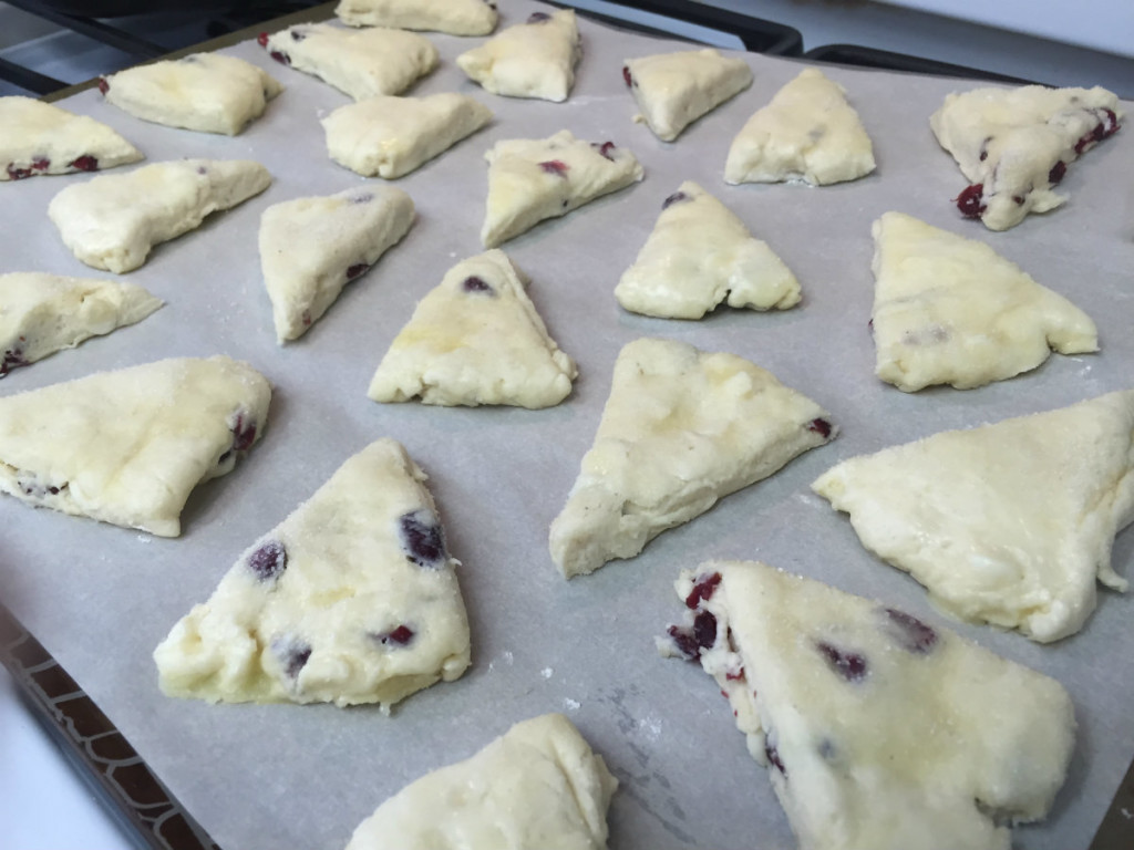 cranberry white chocolate cream scones on sheet